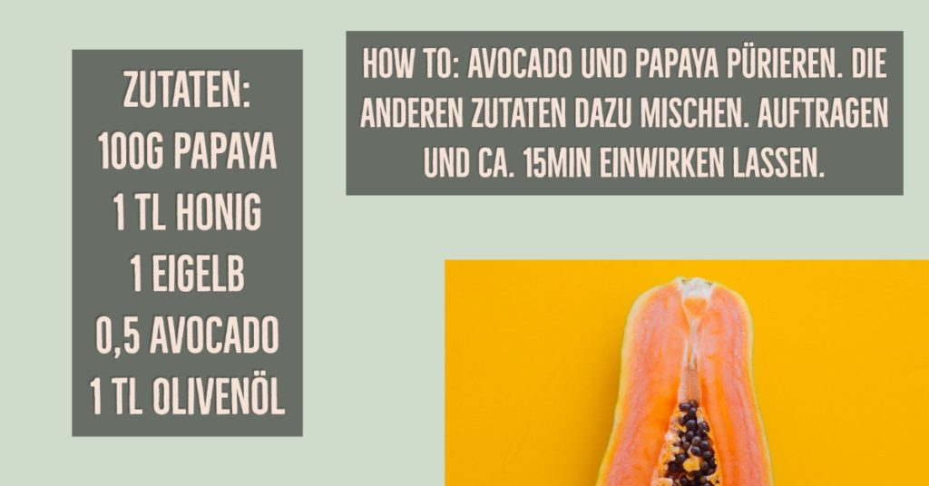 Gesichtsmaske gegen schlaffe Haut mit Papaya und Avocado